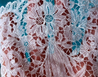 1900's Antique Lace Rare Vintage Lace French Guipure Schiffli Lace Collar Intricate Exquisite Venice Chemical  Edwardian Lg Reversible