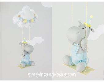 Hippo Baby Mobile, Cloud Theme Nursery, Swinging Hippo Mobile, Gender Neutral, Nursery Decor, Ceiling Mobile, i217