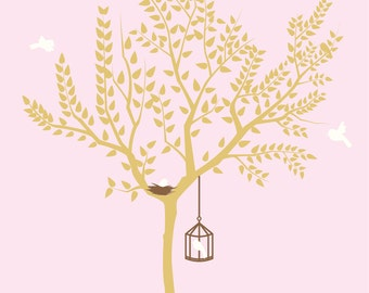 Girls nursery wall decal / nursery wall decal / vinyl wall decal / tree wall decal / tree decal / nursery decals / nursery stickers