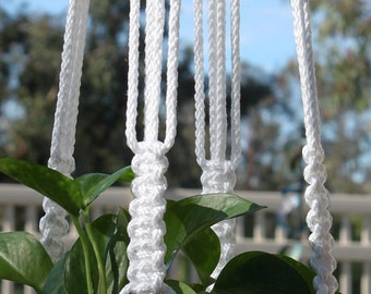 CROWNE ROYALE - Handmade Macrame Plant Hanger Plant Holder with Wood Beads - 6mm Braided Poly Cord in Bright WHITE