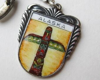 Vintage German Silver Enamel Alaska Inuit Northwest Coast Totem Pole Key Chain Keychain