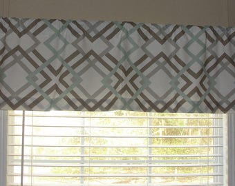 """Premier Prints Winston Artichoke Valance 50"""" wide x 16"""" long Lined Or Unlined Sage Green Taupey Grey and White"""