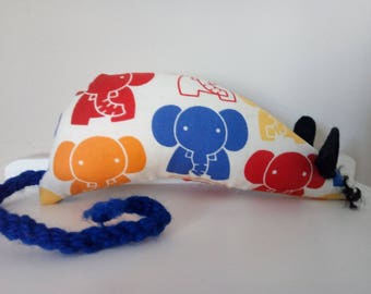 Hand Made Catnip Mouse - Colourful Elephants - Cat Toy