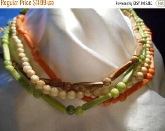 50% OFF SALE Four Strand Plastic Beaded Long Boho Necklace