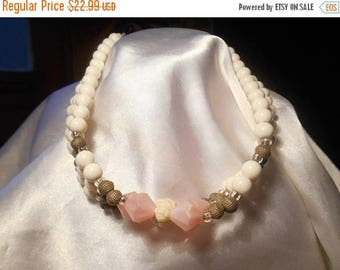 50% OFF SALE V.A. Signed Vintage Multi Strand White Beaded Necklace with Gold Tone and Pink Accent Beads