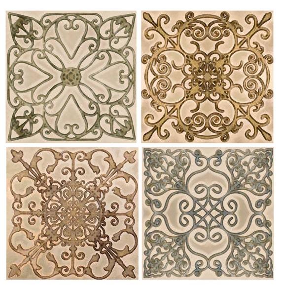Scroll Backsplash Tile Set Ceramic Accent Border Decorative