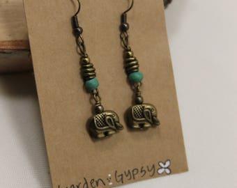 Turquoise Elephant earring dangles