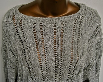 Silver Metallic Cable Sweater 80s Hand Knit Oversized Pullover One of a Kind Size Large XL