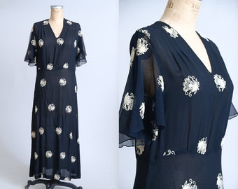 1920s Black Silk Chiffon Imperial Garden Floral Embroidered Full Length Dress