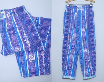 80s International Baggyz Geometric Hammer Pants High Waisted Purple / Blue Abstract Work Out Pants