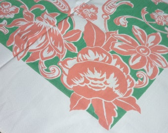 "Vintage   Tablecloth ...50""By 53"" SQ...New Old Stock, Perfect Condition...WILENDUR Era..Mid Century"