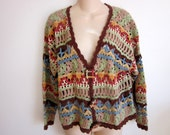 Vintage Sweater crochet cardigan boho chic colorful gypsy M  L large