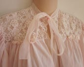 Vintage bed jacket robe top pink glamour silky nylon with lace S M