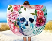"Beach Towel, Floral Sugar Skulls,  Circle Beach Towel, Beach Blanket, Yoga Blanket, 60"", Circle Beach Blanket, Roundie, Yoga Mat"