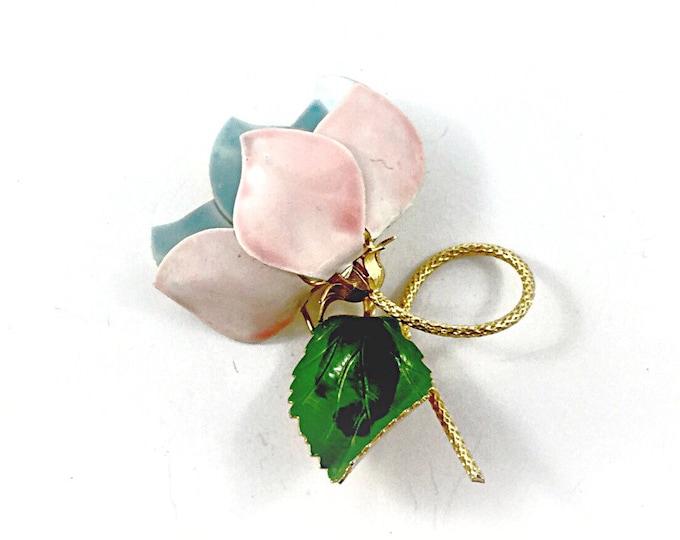 Large vintage soft pink and blue enamel flower brooch, old fashioned pink rose, enamel brooch. Pink flower brooch, blue flower brooch.