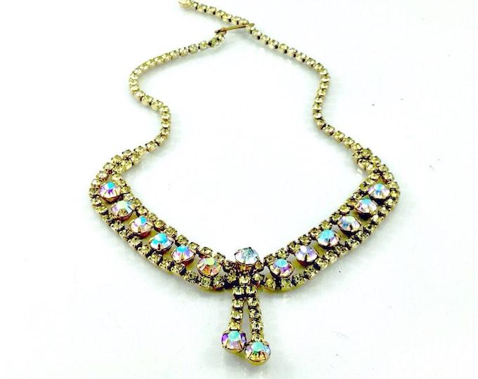 Amazing Vintage Yellow Rhinestone Necklace, Vintage aurora borealis rhinestone necklace. Hi End Quality Designer. Yellow Necklace