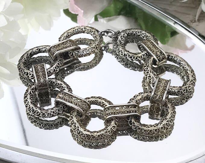 Antique Victorian Silver Filigree Bracelet, Circle Loop Filigree. Vintage Openwork Silver Bracelets.