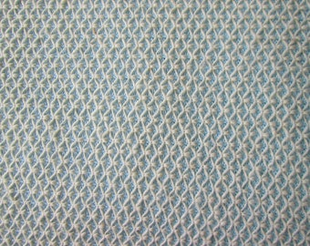 Vintage Heavy Knit Fabric, Baby Blue and White Textured Fabric, Light Blue Home Decor Fabric, Apparel Fabric, Sewing Material
