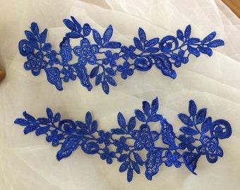 Royal Blue Venise Lace Applique Pair for Bridal Gown Wedding Dress decor,one pair
