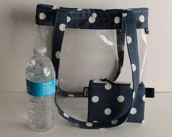 Clear Vinyl Stadium Tote Bag Clear Security Bag Sports Bag Game Day Bag Beach Bag Clear Handbag Snap Top Clear Handbag Blue Polka Dot