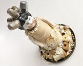custom order cream spool doll with thimbles