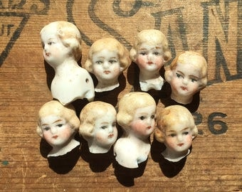 "1 TINY 5/8"" vintage doll head, doll parts, antique doll, assemblage supply, dug up, frozen charlotte, from Elizabeth Rosen"