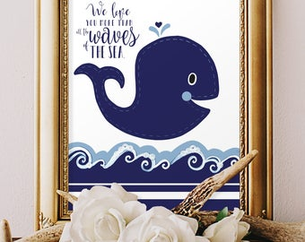 BOY'S WHALE NURSERY, Nautical baby bedding, baby boy room, Nautical Bathroom decor, Kids whale Art Print, Personalized wall art, 8x10 prints