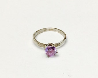Vintage Statement Ring Size 8,  Amethyst, Solitaire, Violet, Sterling Silver, Item No. S345
