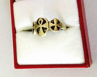 Three ANKH Crosses Ring Size 6.5., VINTAGE Egyptian Sterling Silver Ring,  Collectable Item, item no. S509