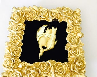 Vintage Cats brooch/pin, gold tone, Stamped, Clearance Sale, item no. B279