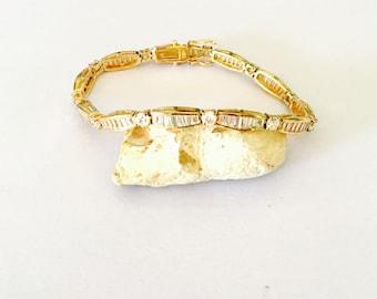 Tennis Bracelet, Clear CZ, vintage gold over Sterling Silver, Stamped, Clearance Sale, Item No. S014