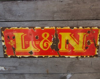 Porcelain Metal Sign L&N Railroad Louisville Nashville RR Reproduction 1940s Style Vintage Look Distressed Antique Aged to look Old Rustic