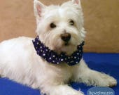 Blue and White Stars Patriotic Dog Scrunchie Neck Ruffle, 16 inch neck