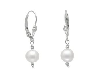 Sterling Silver 7mm White Cultured Freshwater Pearl with Bead Lever Back Dangle Earrings