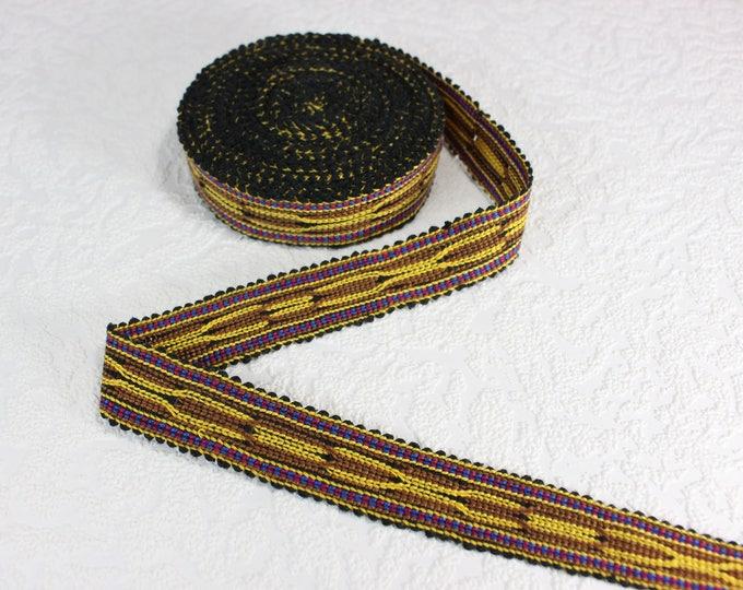 Woven Trim (6 yards), Woven Border, Cotton Ribbon, Grosgrain Ribbon, Dress Border, Border Trim, Ikat Fabric, R242