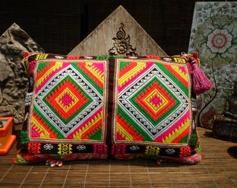 Black Hmong Vintage Textile Cushion Cover