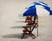 Blue White Beach Umbrella Photo, Beach House Photography, Clearwater Ocean Florida Travel Art, Tropical Coastal Decor, Nautical Home Decor