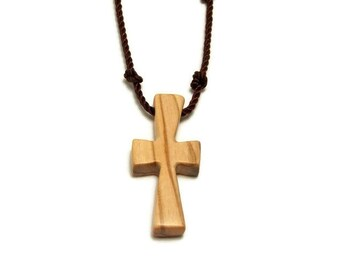 Holy Land Olive Wood, Bethlehem Olive Cross, Simple Cross Pendant, Cross Necklace
