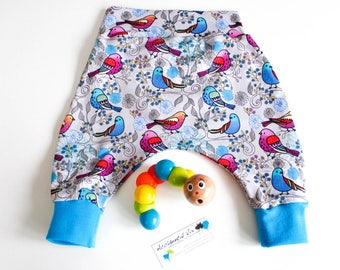 Baby harem pants, bird print, aqua, blue, purple, 0-3m, 3-6m, 6-12m, various sizes, baby gift, homecoming outfit, new baby, baby shower