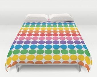Rainbow Gum Balls Polka Dot Duvet Cover, rainbow bedroom decor, double duvet cover, queen duvet cover