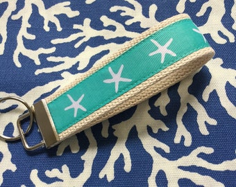 "Key Fob Starfish keychain wristlet - Aqua on Natural cotton webbing 1.25"" - Nautical"