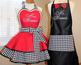 Bridal Aprons For The New Mr. And Mrs...Houndstooth Print Custom Apron...Perfect Wedding Gift!