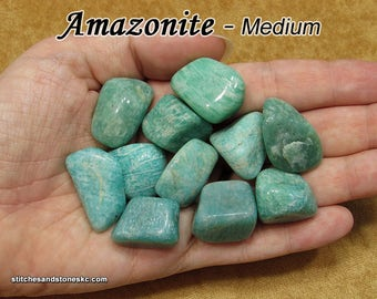 Amazonite tumbled stone for crystal healing — multiple sizes available