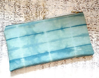 Shibori Pouch - Turquoise Green Clutch - Clover