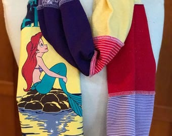 UPCYCLED t-shirt scarf ...  Ariel ... Little Mermaid ... Disney World ... red, teal, purple, yellow