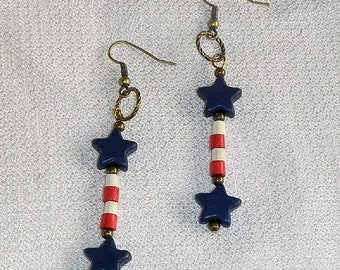 Red White & Blue American Pride Earrings Patriotic Pierced Dangle Earrings Red and White Stripes with Blue Stars American Stars and Stripes