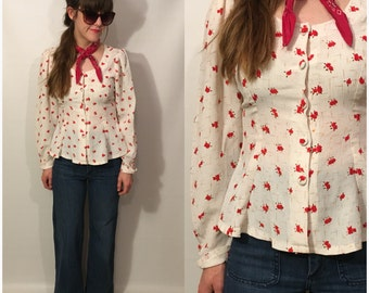 Vintage 80s Button Up Rose Peplum Blouse Long Sleeve Shirt Size Small