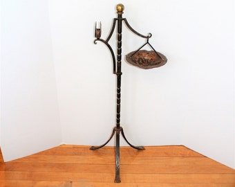 Arts and Crafts Ashtray Stand Copper and Iron Antique Mission Style