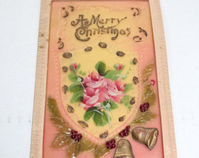 Antique Christmas Postcard Celluloid A Merry Christmas