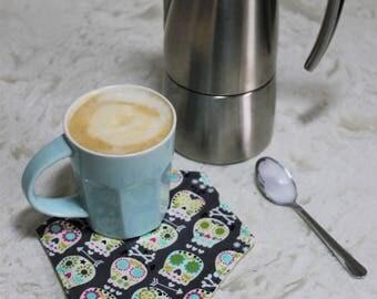 Mug Rugs - Set of 4 | Sugar Skulls | Coaster | Hexagon | Cotton | Handmade | Bakeapple |